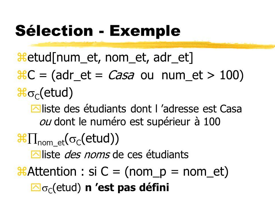 Sélection - Exemple etud[num_et, nom_et, adr_et]